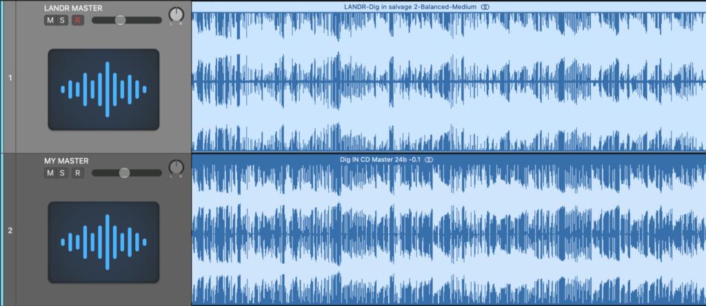 LANDR mastered track comparison